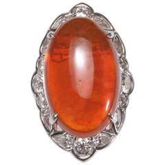 Fire Opal and Diamond Cluster Ring