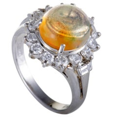 Fire Opal and Diamond Platinum Cocktail Ring