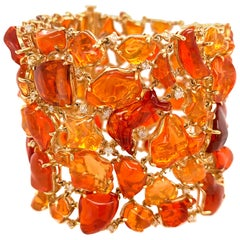 Fire Opal and Diamond Statement Bracelet