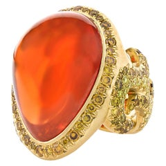 Fire Opal and Melee Diamond Filigree Ring, 24.39 Carat