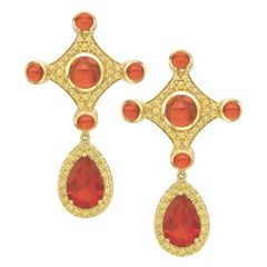 Fire Opal and Yellow Sapphire Earrings in 18 Karat Yellow Gold