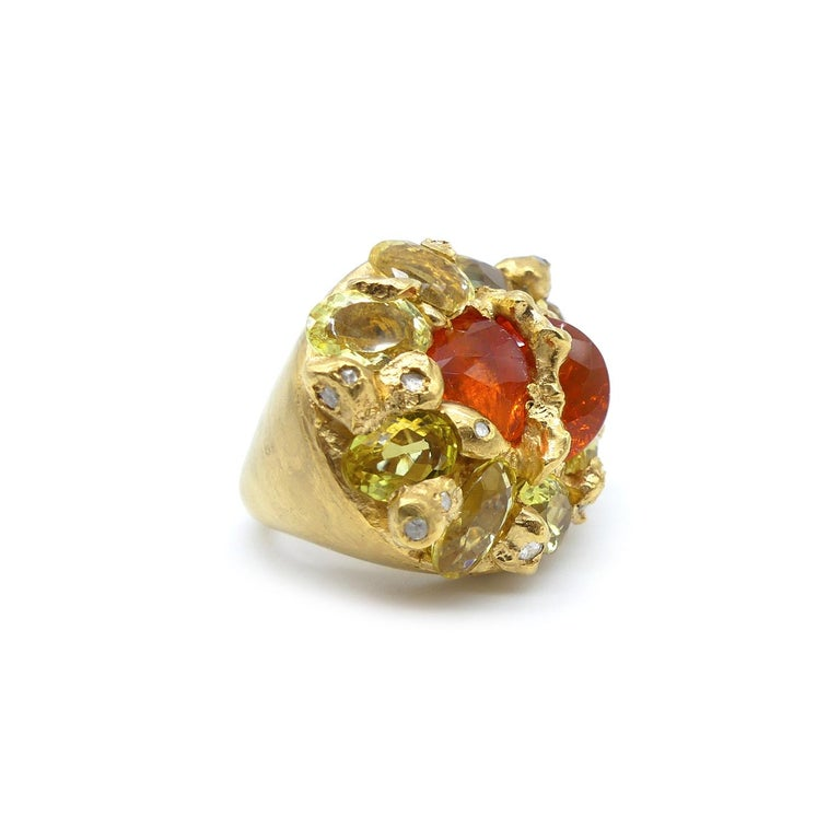 Contemporary Fire Opal Citrines 0.32 Carat Diamonds Gold Plated Cocktail Ring For Sale