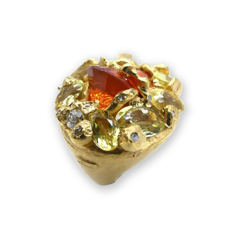 Brilliant Cut Fire Opal Citrines 0.32 Carat Diamonds Gold Plated Cocktail Ring For Sale