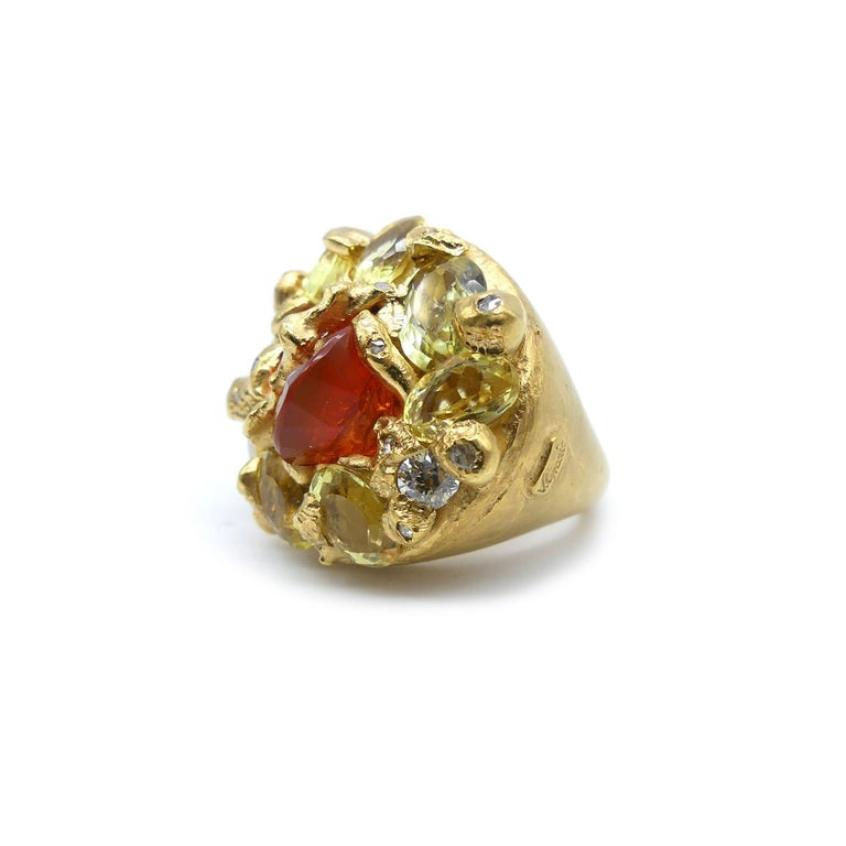 Fire Opal Citrines 0.32 Carat Diamonds Gold Plated Cocktail Ring In New Condition For Sale In Valencia, ES