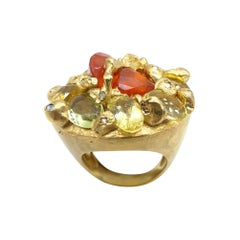 Fire Opal Citrines 0.32 Carat Diamonds Gold Plated Cocktail Ring