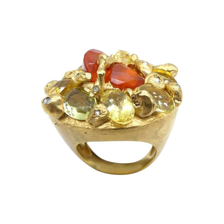 Fire Opal Citrines 0.32 Carat Diamonds Gold Plated Cocktail Ring For Sale