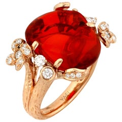 Fire Opal Diamond and Rose Gold Ring