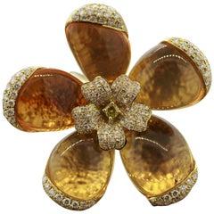 Fire Opal Diamond Gold Flower Ring