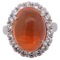 Fire Opal Diamond Platinum Ring