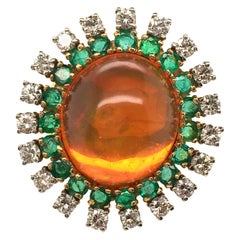 Fire Opal, Emerald and Diamond Ring