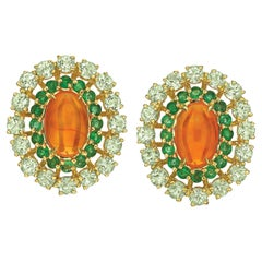 Fire Opal, Emerald and Green Tourmaline 18 Karat Yellow Gold Earrings