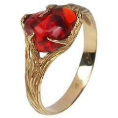 Fire Opal Gold Ring Red Gemstone 18K Yellow Gold Modern Engagement Jewelry