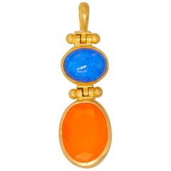 Fire-Opal Opal 22 Karat Gold Double Swivel Pendant