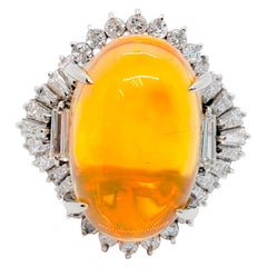 Fire Opal Oval Cabochon and White Diamond Cocktail Ring in Platinum