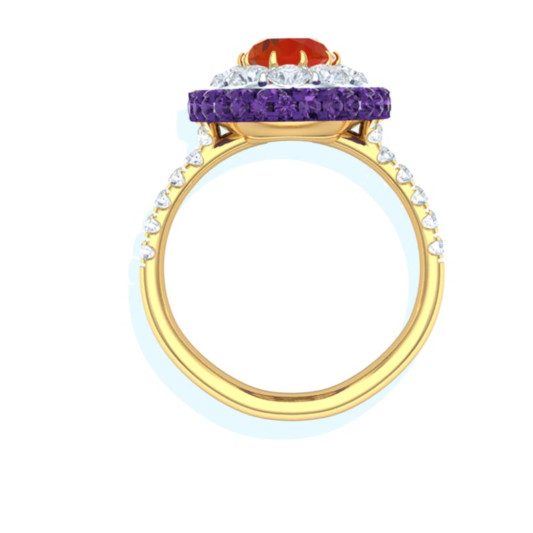 Fire Opal, Purple Sapphire and Diamond Cocktail Ring In Excellent Condition For Sale In Aliso Viejo, CA