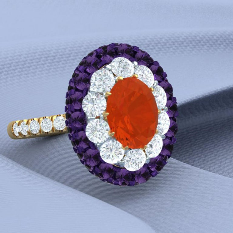 Women's or Men's Fire Opal, Purple Sapphire and Diamond Cocktail Ring For Sale