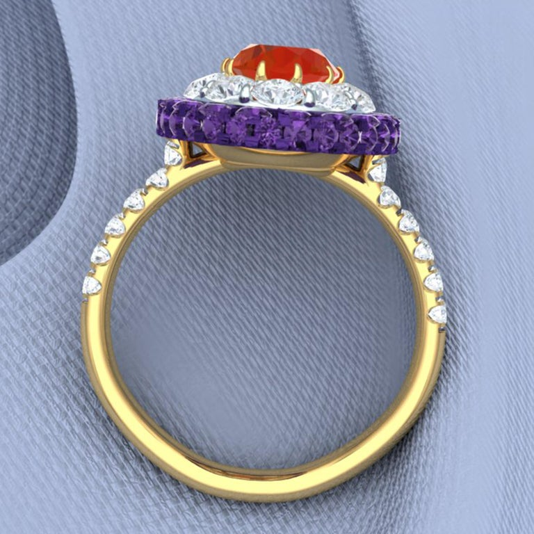 Fire Opal, Purple Sapphire and Diamond Cocktail Ring For Sale 1