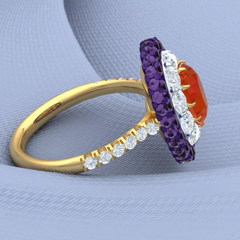Fire Opal, Purple Sapphire and Diamond Cocktail Ring For Sale 2