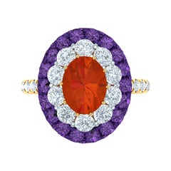 Fire Opal, Purple Sapphire and Diamond Cocktail Ring