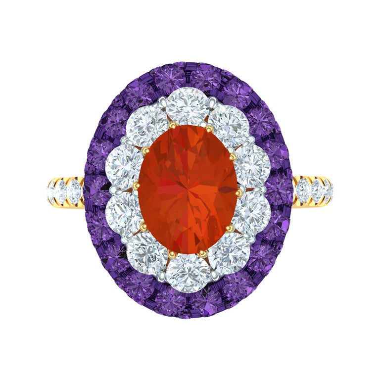 Fire Opal, Purple Sapphire and Diamond Cocktail Ring For Sale