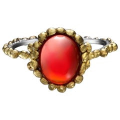 Oval Fire Opal Ring Made in Platinum and 24 Karat Gold