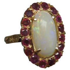 Fire Opal and Ruby Engraved 14 Karat Gold Ring