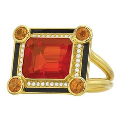 Fire Opal, Spessartite Garnet and Diamond Enamel Museum Series Cocktail Ring
