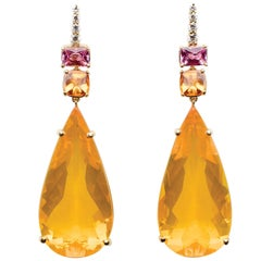 Fire Opal, Spessartite Garnet, Pink Sapphire & Diamond Earrings Set in 18kt Gold
