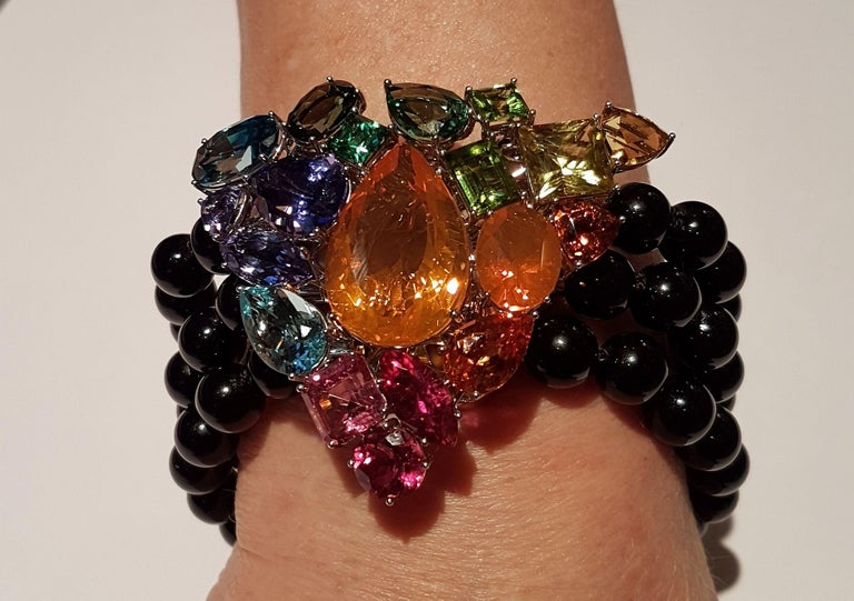 Modern Fire Opal Tanzanite Tourmaline Onyx Pearls Gold Aquamarine Peridot Bracelet For Sale