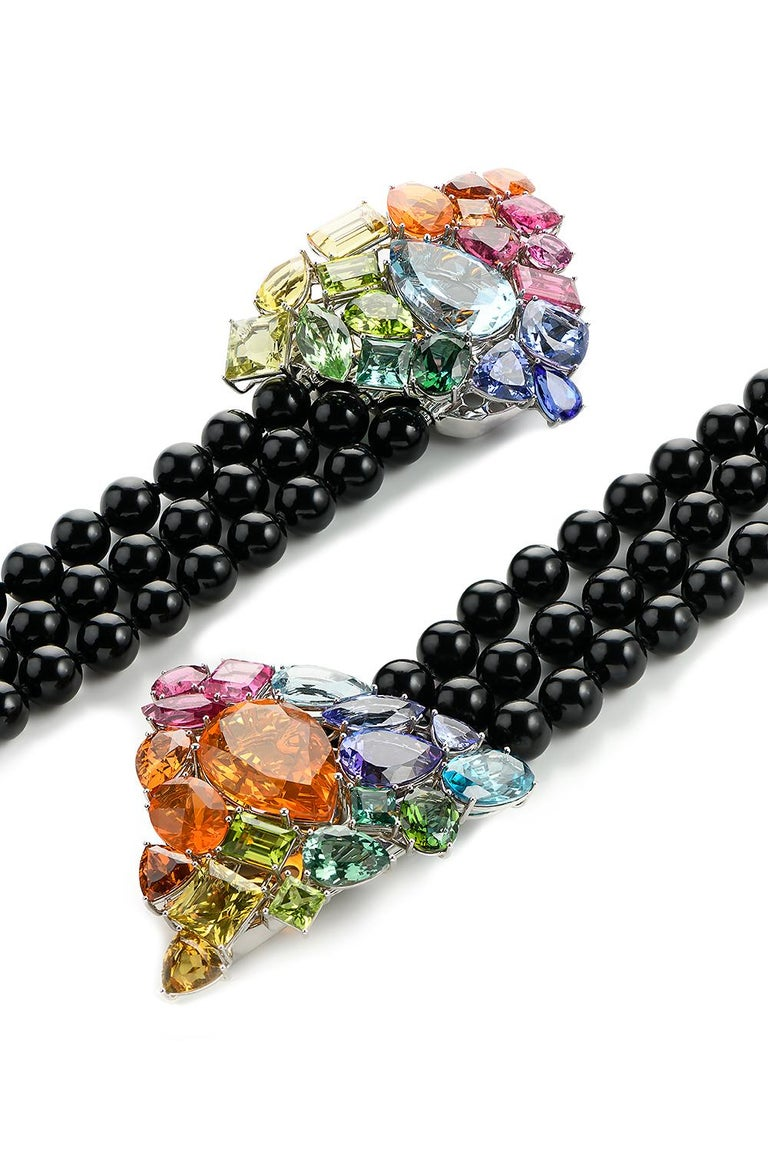 Fire Opal Tanzanite Tourmaline Onyx Pearls Gold Aquamarine Peridot Bracelet In New Condition For Sale In Berlin, DE