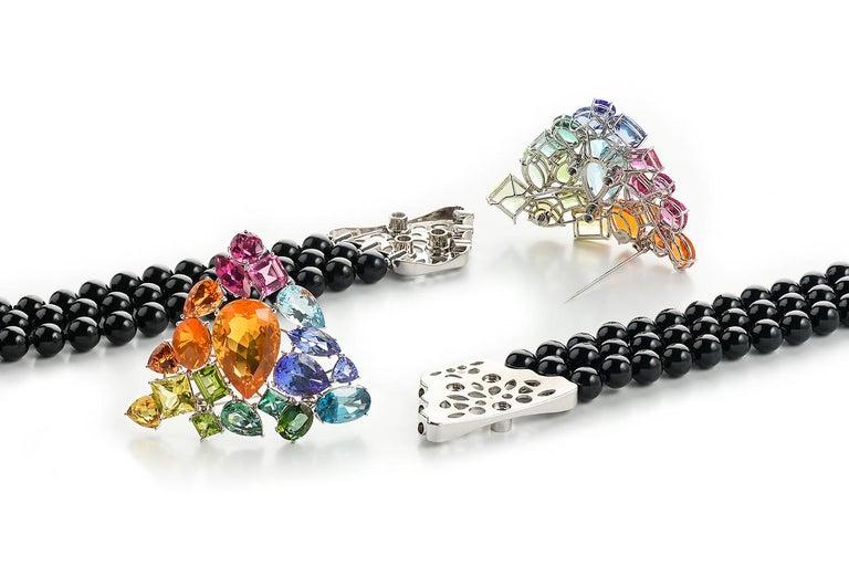 Women's or Men's Fire Opal Tanzanite Tourmaline Onyx Pearls Gold Aquamarine Peridot Bracelet For Sale