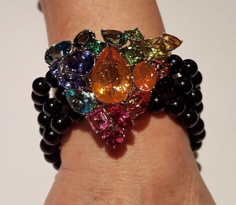 Fire Opal Tanzanite Tourmaline Onyx Pearls Gold Aquamarine Peridot Bracelet For Sale 2
