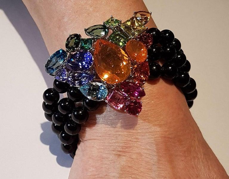 Fire Opal Tanzanite Tourmaline Onyx Pearls Gold Aquamarine Peridot Bracelet For Sale 3