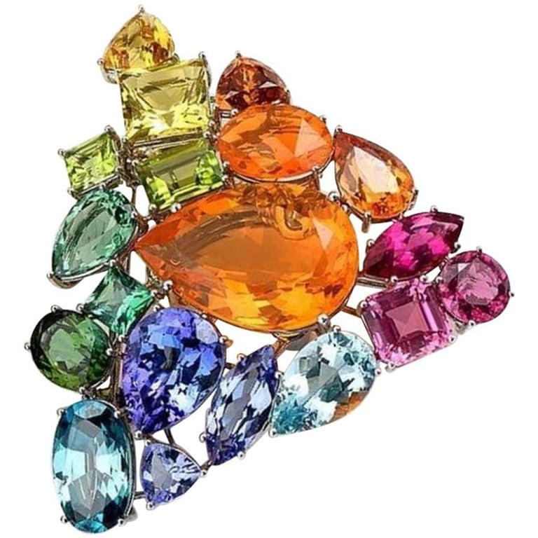 Fire Opal Tanzanite Tourmaline Onyx Pearls Gold Aquamarine Peridot Bracelet For Sale