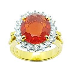 Fire Opal with Diamond Ring Set in 18 Karat Gold Settings