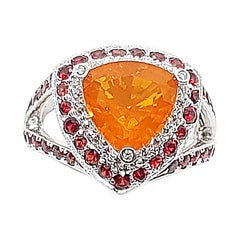 Fire Opal with Orange Sapphire and Diamond Ring in 18 Karat White Gold Settings
