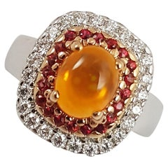 Fire Opal with Orange Sapphire and Diamond Ring Set in 18 Karat White Gold