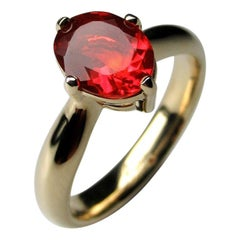 Fire Opal Yellow Gold Ring Mexican Gemstone Elegant Jewelry Minimalism Fiery Red