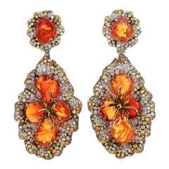 Fire Opal Yellow Sapphire Diamond 18K Gold Flower Dangle Earrings