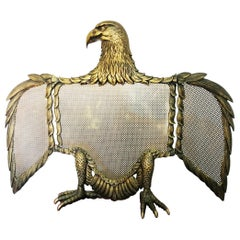 Fire Screen Bronze or Brass Eagle-Shaped Sparks, Spain, 20th Century