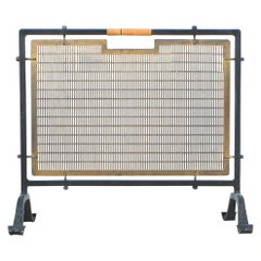 Fire Screen from Forged Wrought Iron Brass and Rattan Handle, France, circa 1950