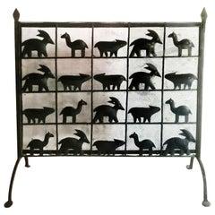 Fire Screen Iron Farm Animals Handmade Spain, Early 20th Century