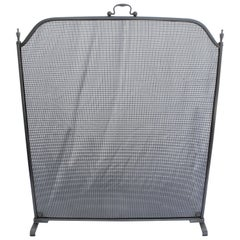 Fire Screen, Satin Nickel Finish, Mid-Century Modern