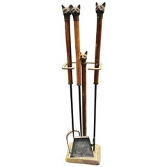 Fire Tool Set Bronze Fox Head Rosewood Handles and Stand