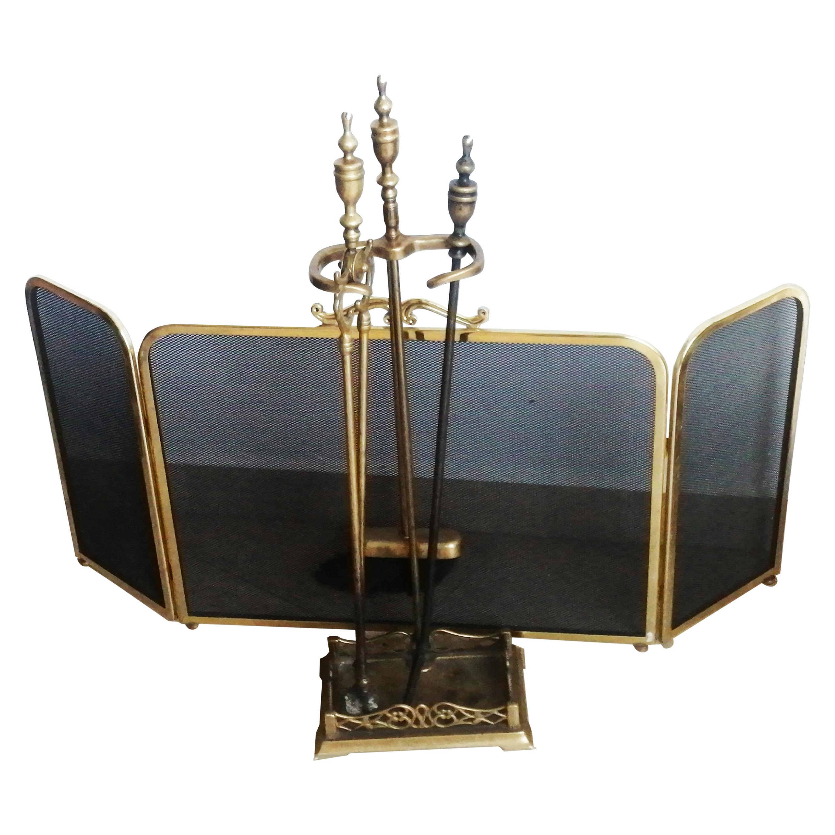 Fire Tools and Screen Brass or Bronze Modernist, France, 20th Century