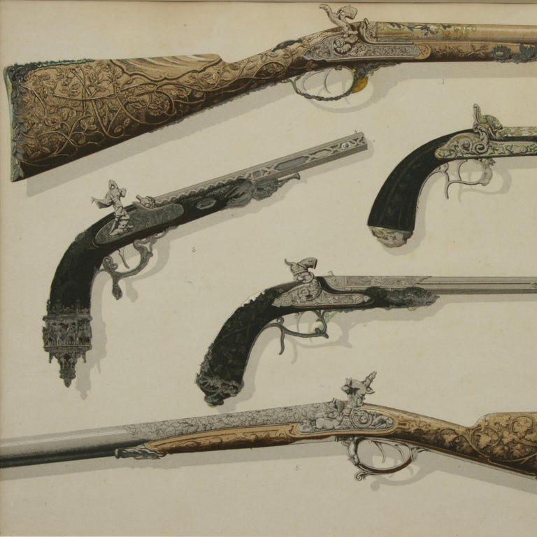 A pair of mounted lithographic prints of very decorative Hammer Guns Pistols and Rifles and Drum Revolvers. This is a very unusual pair of prints Late 19th. Century