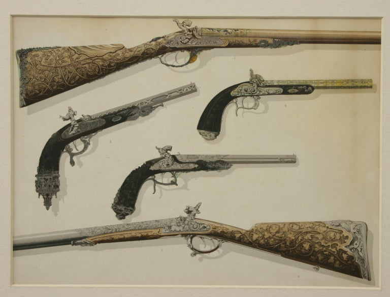 Sporting Art Pair of Antique Firearm Prints of Pistols and Rifles, Hammer Guns and Drum Revol For Sale
