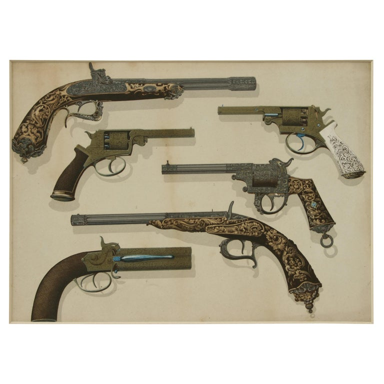 Pair of Antique Firearm Prints of Pistols and Rifles, Hammer Guns and Drum Revol For Sale