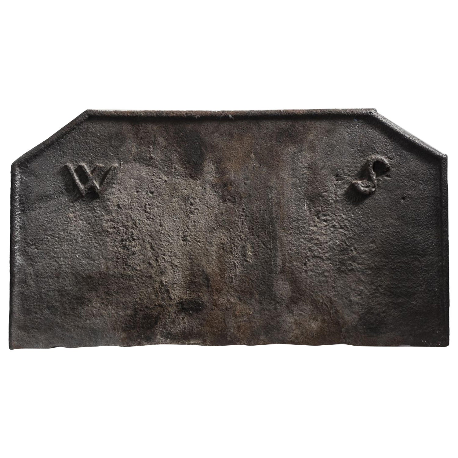 Fireback, Cast Iron, 17th Century, English, Bearing the Initials W S