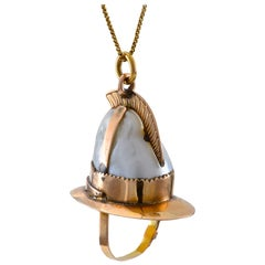 Firemans Helmet Pendant / Fob with Large Natural Pearl and Gold